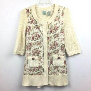 Anthropologie HWR Cardigan Sweater S Cream Floral